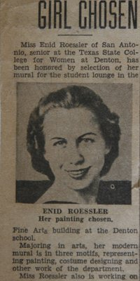 newspaper clipping - Enid Roessler