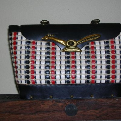 Red Black and White Basket Weave Bag