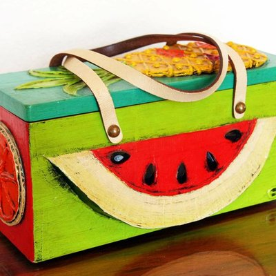 "Papier Mache Box Bag ""Fruit"""