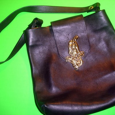 1960's Leather Bag Vintage Leather & Brass