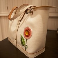 Three Flower White Tote front view