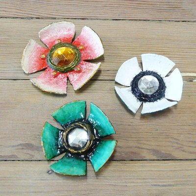 Paper Mache Brooches Flower Brooches