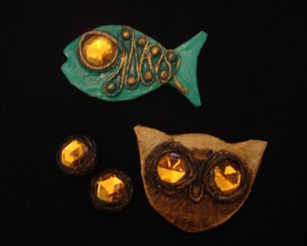 Enid Collins Owl & Fish Pins ec Papier Mache Fish & Owl Pins